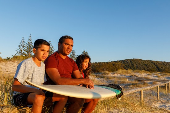 Aboriginal man with kids